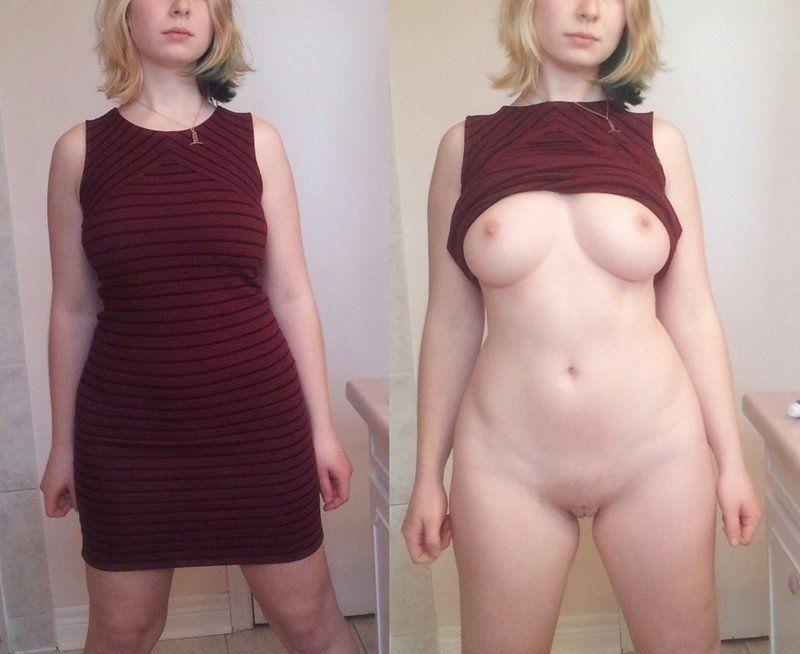 Mulher loira se exibindo pelada