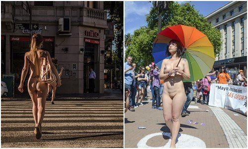 Flagras de mulheres peladas na rua